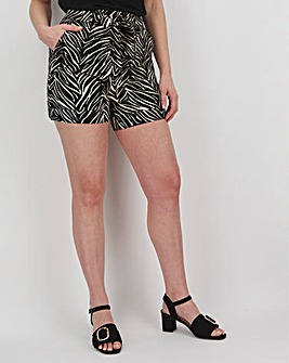 Zebra Print Linen Rich Turn-up Shorts