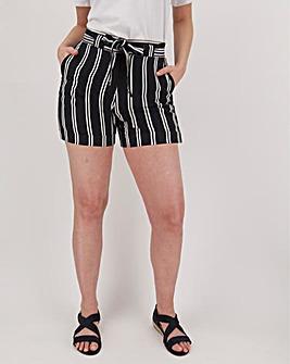 Stripe Linen Rich Turn-up Shorts