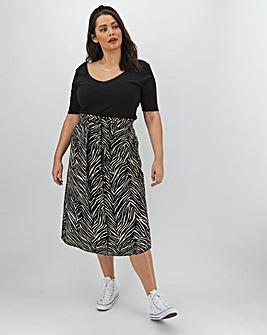 Zebra Print Linen Rich Midi Skirt