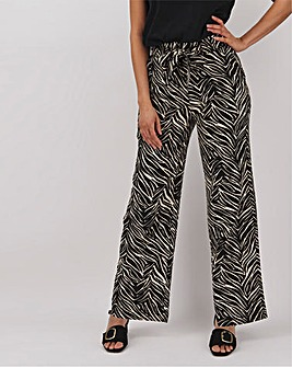 Zebra Print Linen Rich Wide Leg Trousers Regular