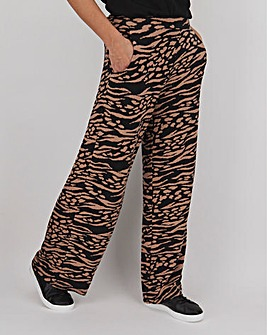 Animal Print Jersey Wide Leg Trousers Long