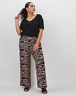 Animal Print Jersey Wide Leg Trousers Short