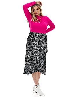 Mono Print Wrap Front Midi Skirt