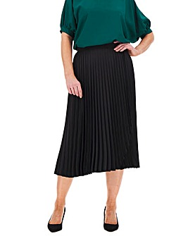 Wrap Front Pleat Midi Skirt