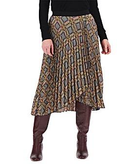Check Wrap Front Pleat Midi Skirt