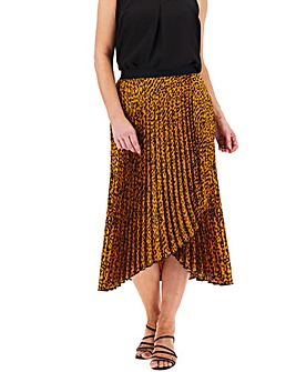 Animal Print Wrap Front Midi Skirt