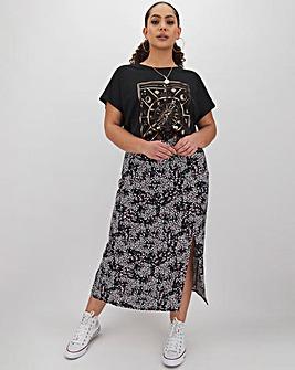 Floral Print Split Front Midi Skirt