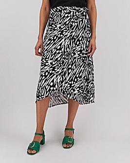 Print Wrap Front Midi Skirt