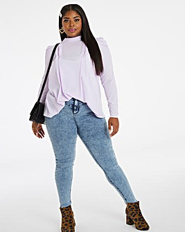 Lilac Pleat Front Blouse
