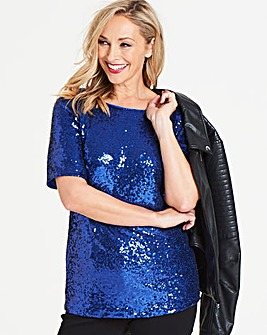 Cobalt All Over Sequin Top