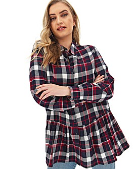 Navy Check Peplum Hem Shirt