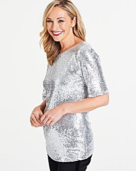 Silver All Over Sequin Top