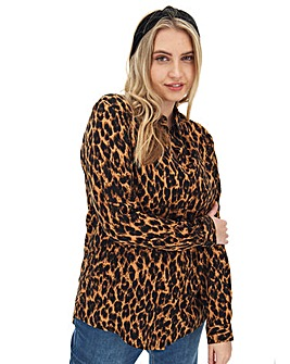 Leopard Print Dipped Back Shirt