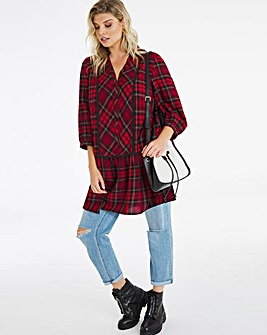 Red Check Dropped Waist Tunic