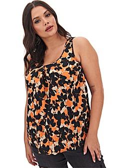 Orange Floral Printed Vest
