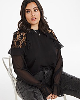 Black Lace Insert Frill Sleeve Top