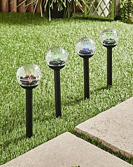 Set of 4 Disco Ball Solar Stake Light