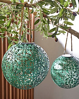 Set of 2 Green Cut Out Solar Lanterns