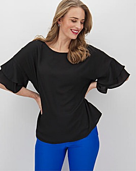 Black Fluted Sleeve Blouse