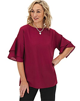 Raspberry Fluted Sleeve Blouse