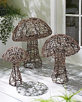 Set of 3 Wicker Mushrooms- Low Voltage Mains