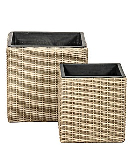 Set of 2 Rattan Weave Square Planters