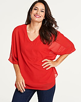 Red V-Neck Top with Jersey Lining