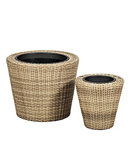 Set of 2 Rattan Weave Round Planters