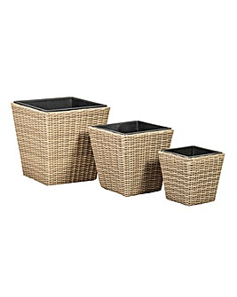 Set of 3 Rattan Weave Square Planters