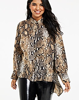 Snake Print Satin Dipped Hem Shirt
