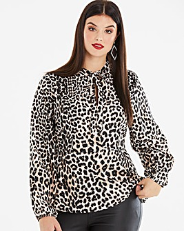Leopard Print Pussybow Blouse