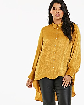 Ochre Satin Dipped Hem Shirt