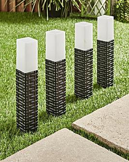 Set of 4 Rattan Solar Stake Lights