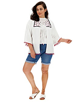 Embroidered Kimono with Pom Pom Trims