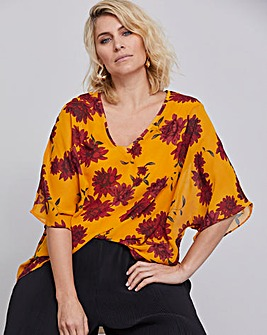 Ochre V-Neck Top with Jersey Lining