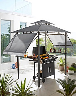 BBQ Gazebo with Side Tables and Eaves
