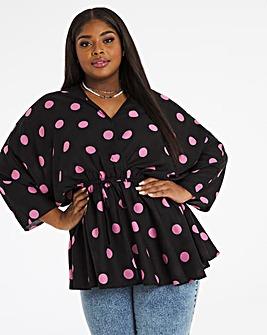 Pink Spot Kimono Sleeve Blouse