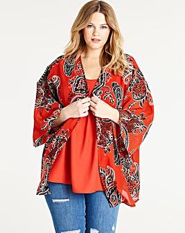 Orange Print Set Of 2 Cami and Kimono