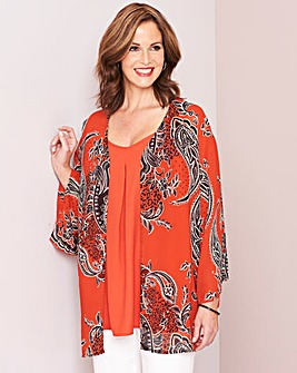 Orange Print Set Of 2 Cami and Kimono
