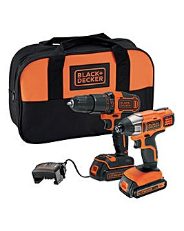 Black + Decker 18v Hammer Drill and Impact Driver
