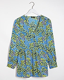 Blue Floral Print Longline Tunic