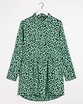Green Print Dipped Back Longline Tunic