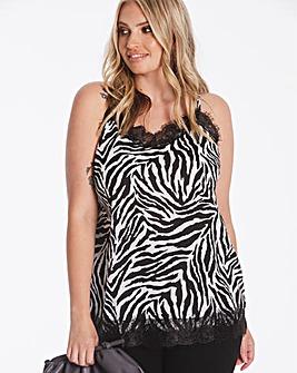 Zebra Print Lace Trim Cami
