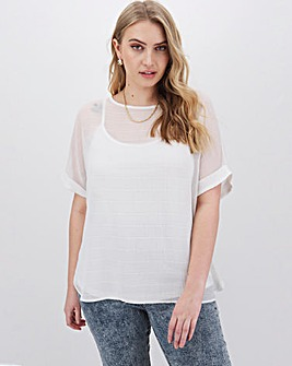 Ivory Textured Woven T-Shirt