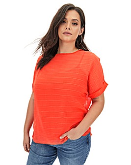 Deep Orange Textured Woven T-Shirt