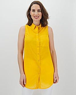 Ochre Cotton Sleeveless Shirt
