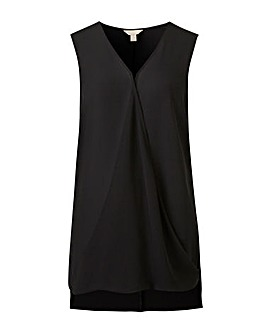 Black Sleeveless Wrap Top