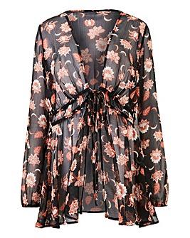 Black Print Tie Front Kimono