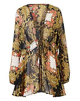 Scarf Print Tie Front Kimono