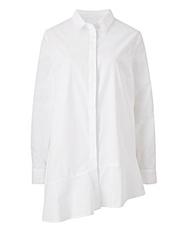 White Peplum Asymmetric Shirt